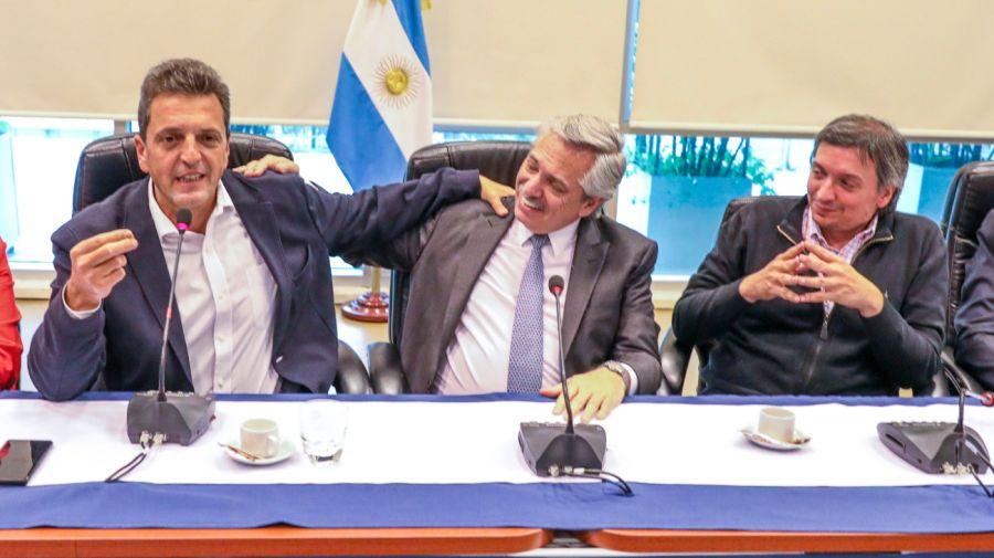 Sergio Massa, Alberto Fernández y Máximo Kirchner.
