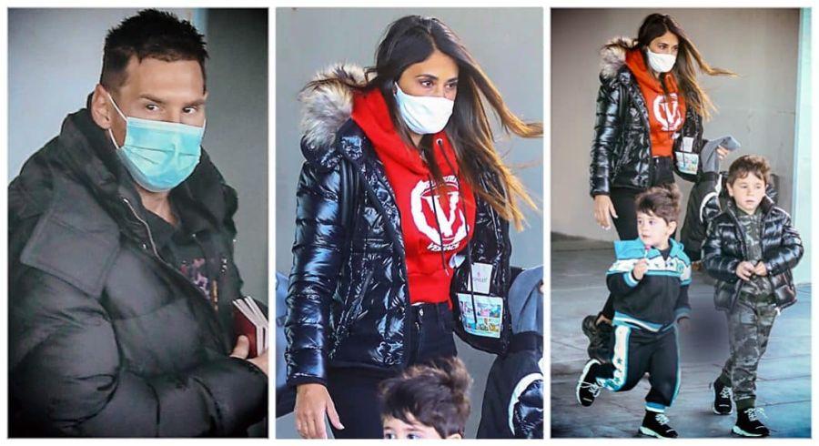 La familia Messi llegó a Barcelona luego de pasar unos días en Rosario.