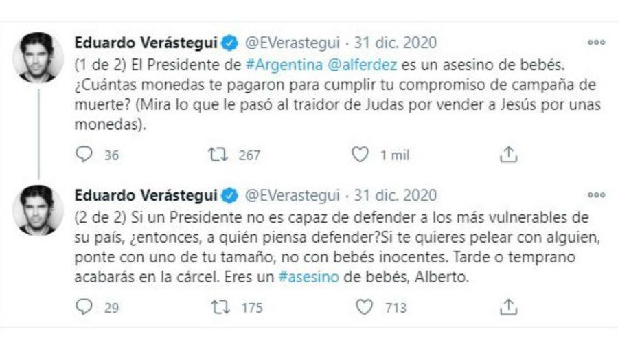 Eduardo Verastegui contra Alberto Fernández por el aborto