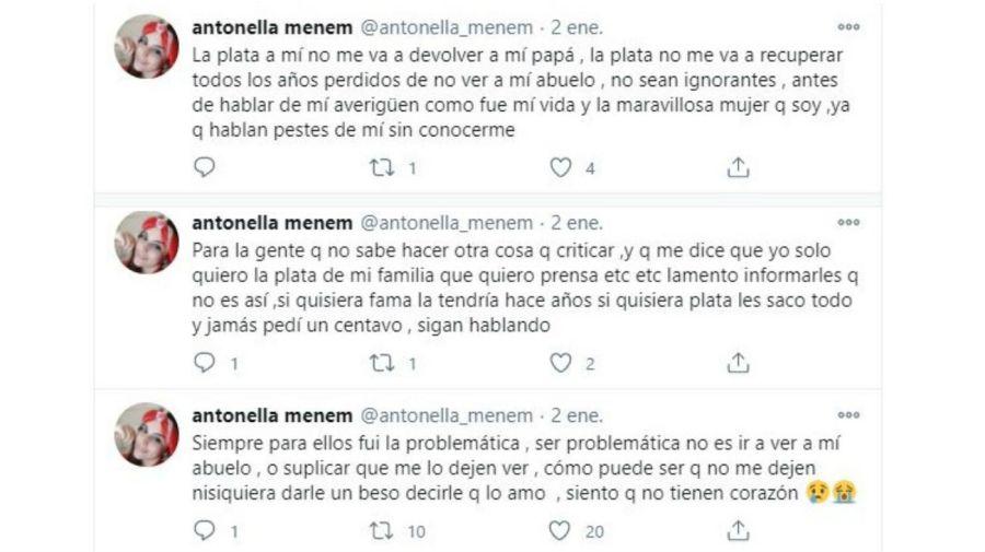 El mensaje de Antonella Menem por su abuelo