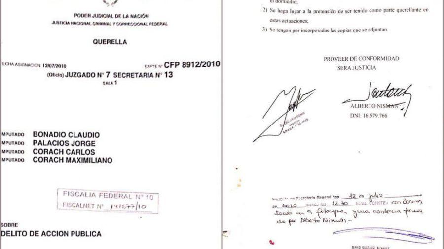 La denuncia de Nisman contra Bonadio