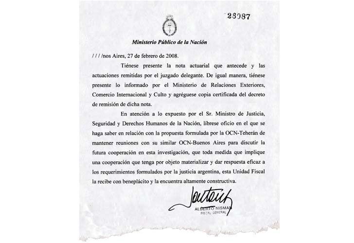 Nisman: Documento del pacto con Iran