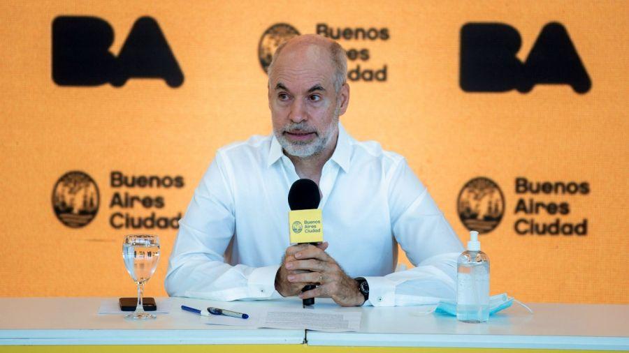 Horacio Rodríguez Larreta, durante la conferencia de prensa.