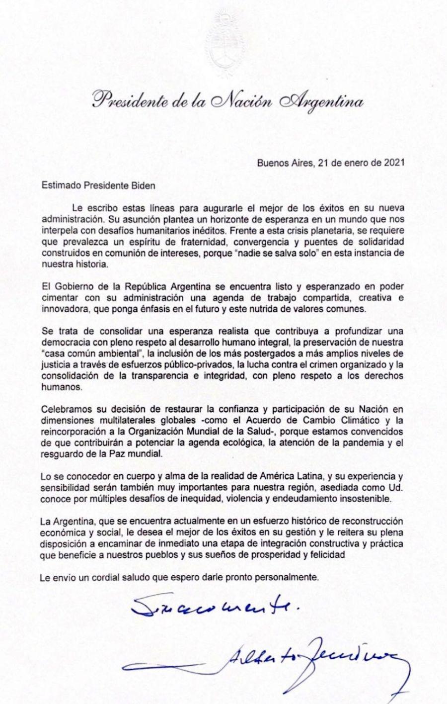 La carta enviada y firmada por Alberto Fernández.