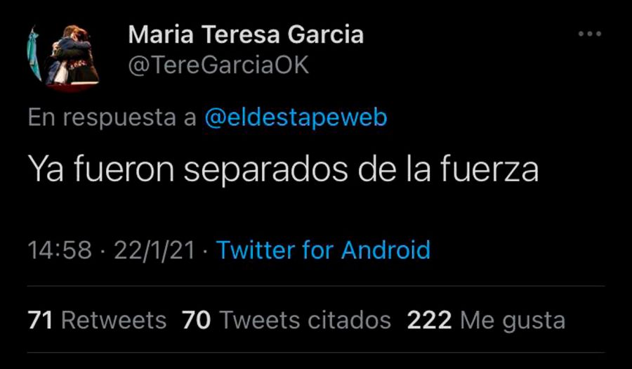 Tuit borrado de la ministra bonaerense Teresa García