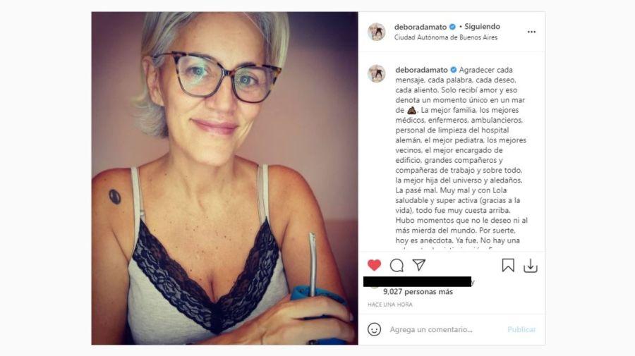 Debora D'Amato tras el coronavirus