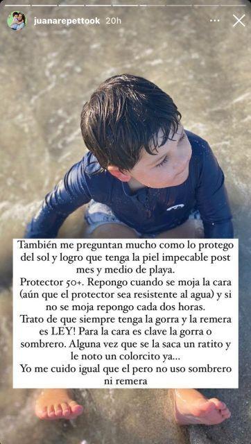 Juana Repetto respondió a quienes la critican por cómo cuida a Toribio en la playa