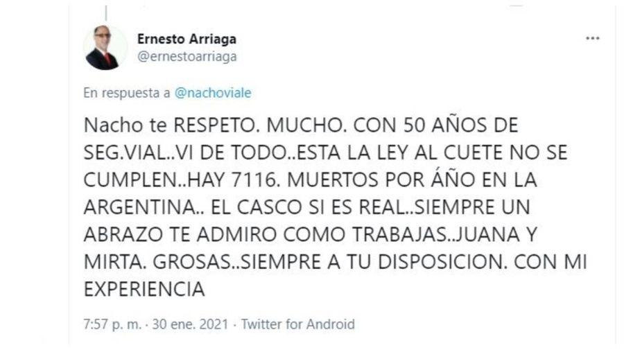 Ernesto Arriaga respuesta a Nacho Viale