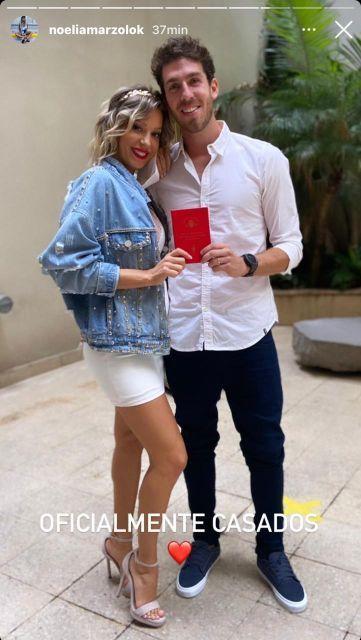 Noelia Marzol y Ramiro Arias se casaron por civil