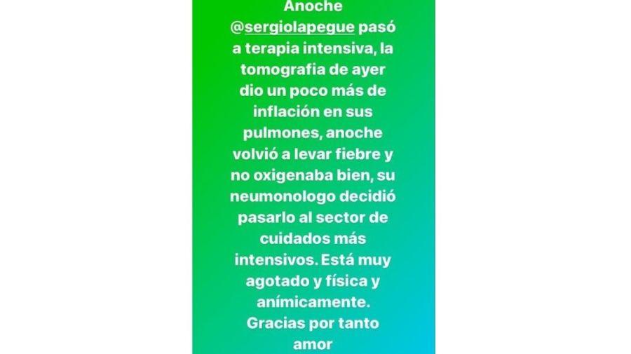 Sergio Lapegue terapia intensiva