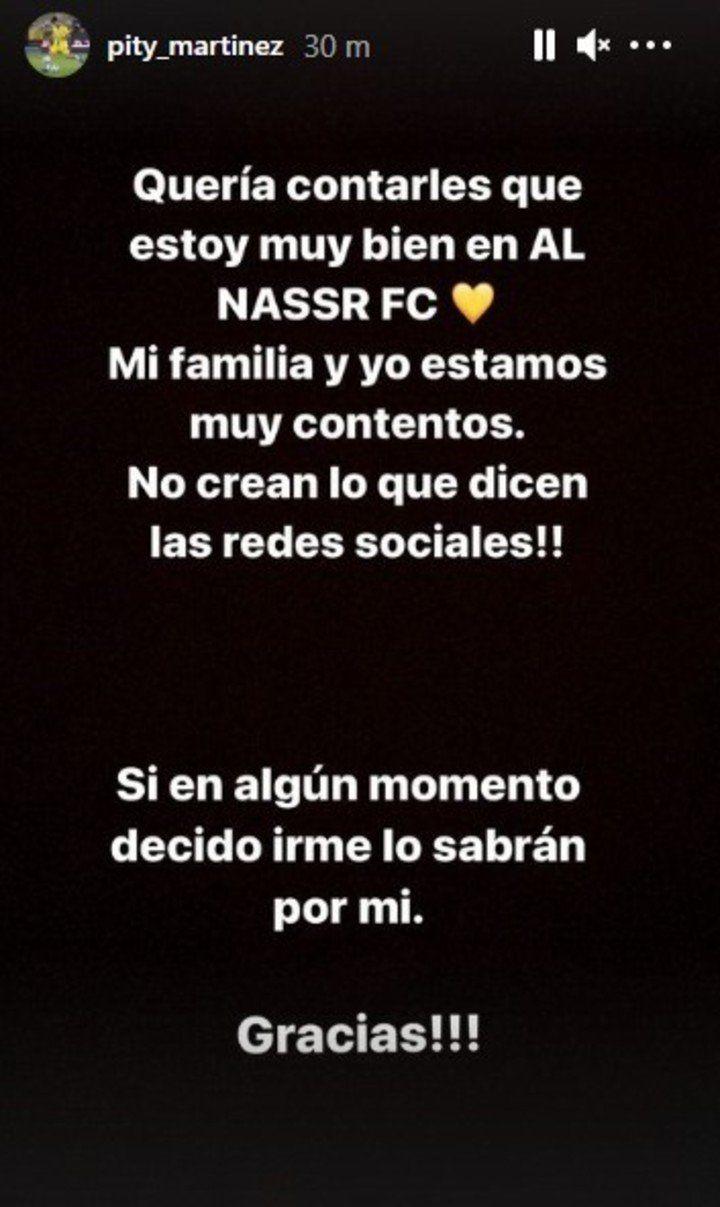 Historia de Instagram publicada por el Pity.