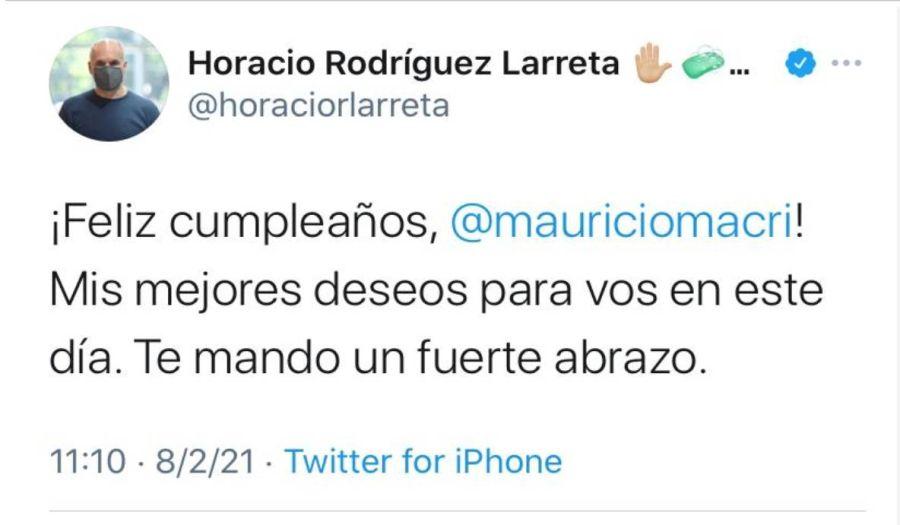 Sin Bárbara Diez: Horacio Rodríguez Larreta saludó a Macri por su cumpleaños