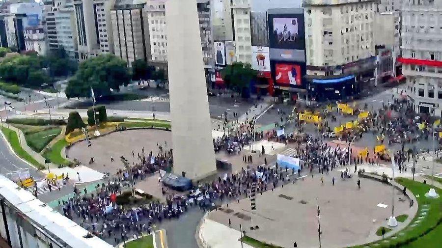 Protestas en el centro porteño