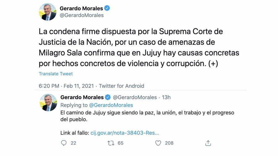 Gerardo Morales tuiteó sobre la condena firme a Milagro Sala.