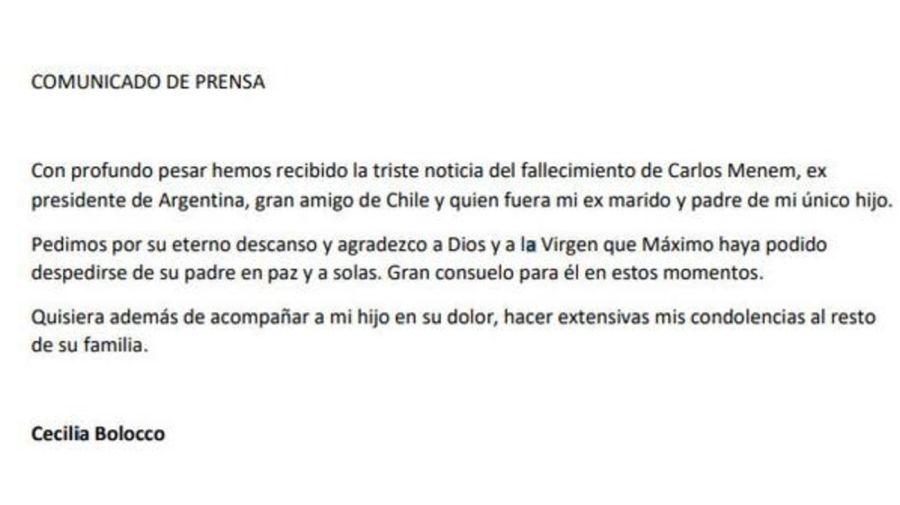 Comunicado Cecilia Bolocco tras muerte de Carlos Menem