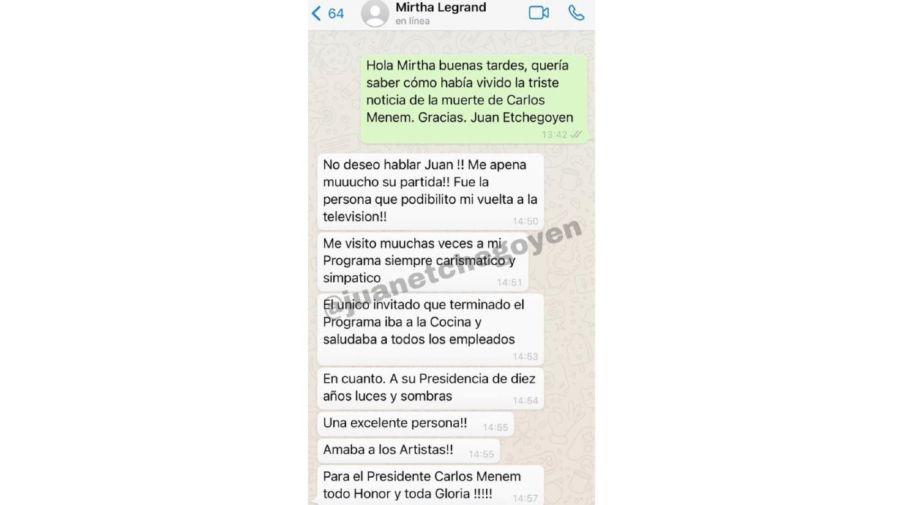 Mensaje Mirtha Legrand por la muerte de Carlos Menem