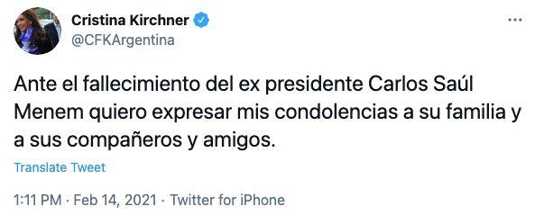Tweet de Cristina Fernández de Kirchner sobre Carlos Menem.