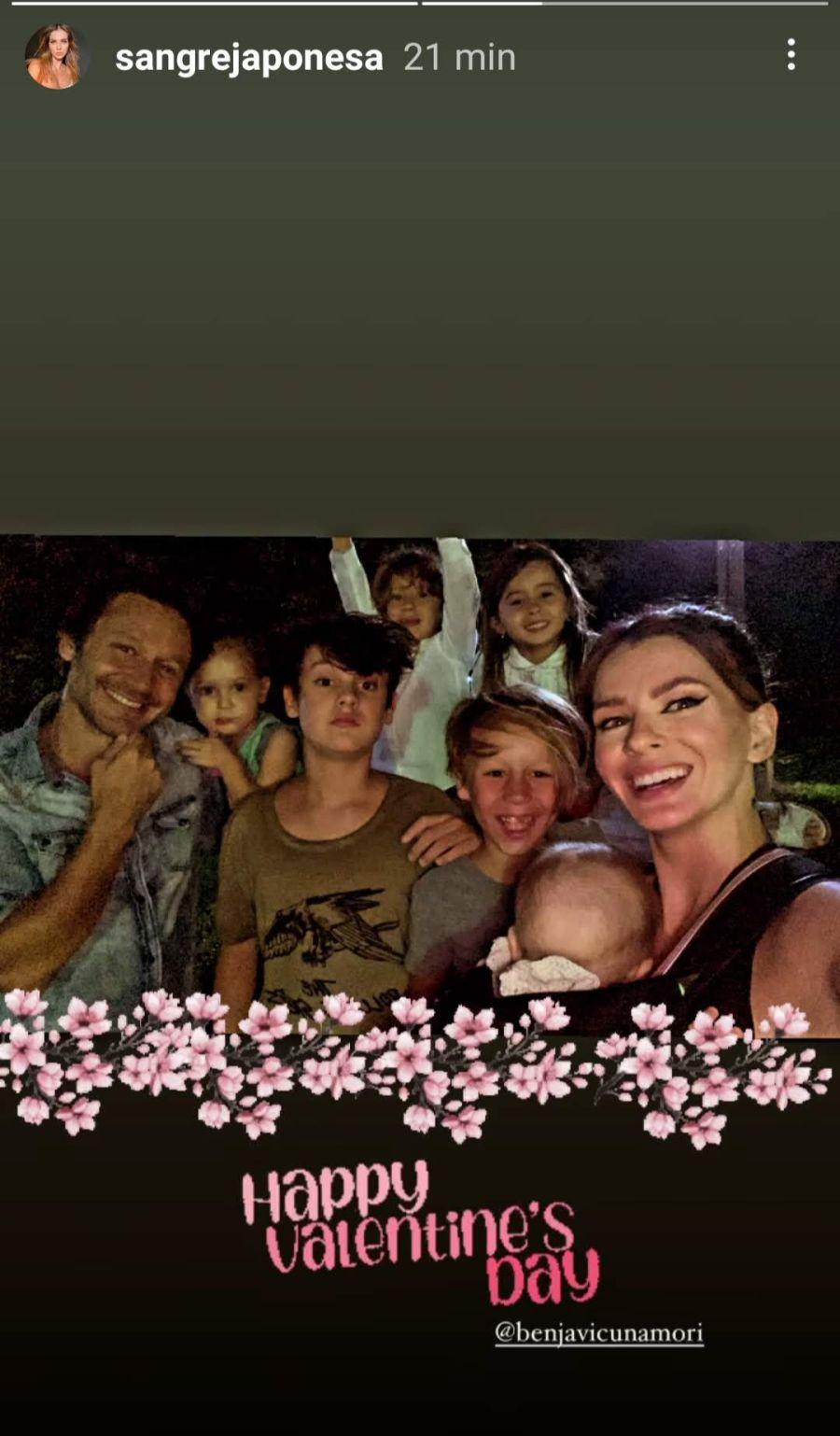 La China Suárez compartió una foto de Benjamín Vicuña y sus hijos para San Valentín