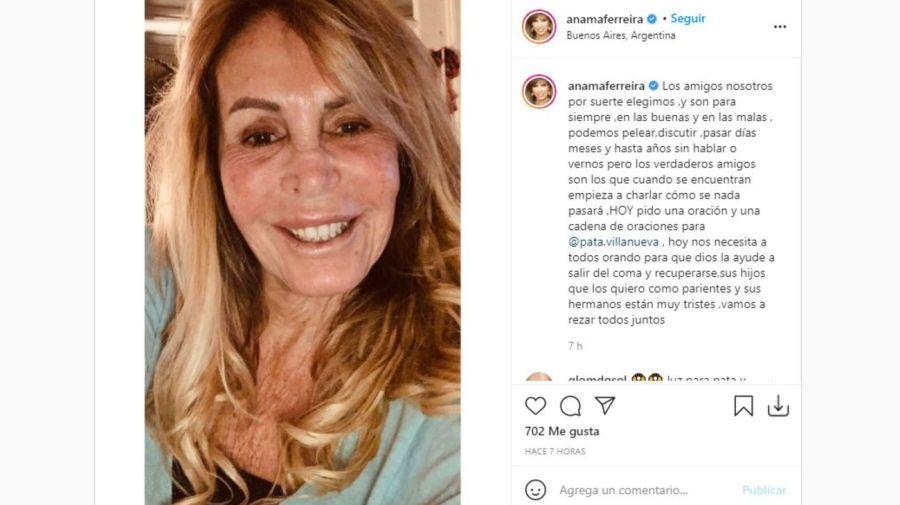Mensaje Anama Ferreira accidente Pata Villanueva