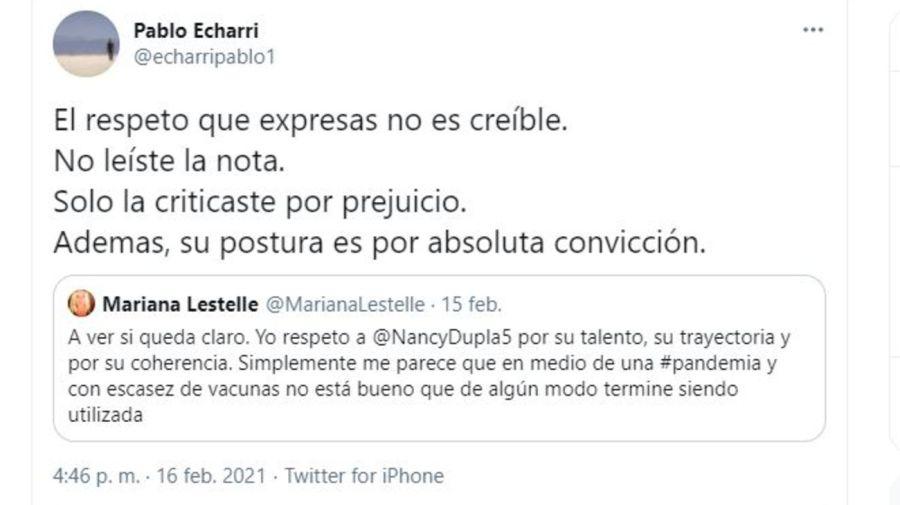 Mensaje de Pablo Echarri contra Mariana Lestelle