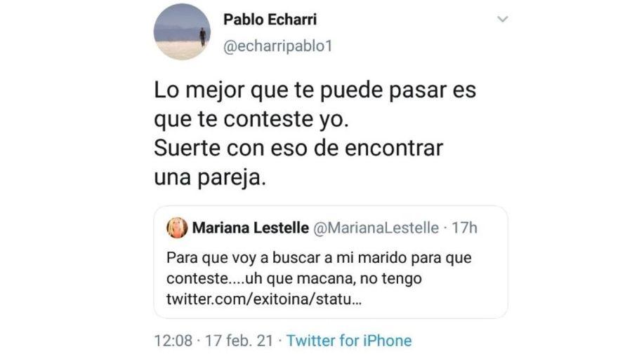 Mensaje Pablo Echarri contra Mariana Lestelle