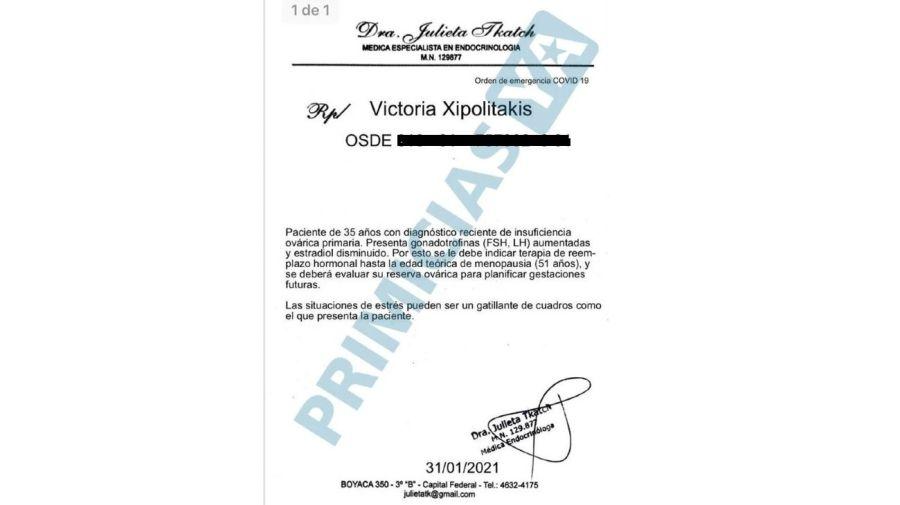 Informe cuadro de salud de Vicky Xipolitakis