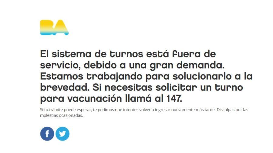 colapso pagina vacunas caba 19022021