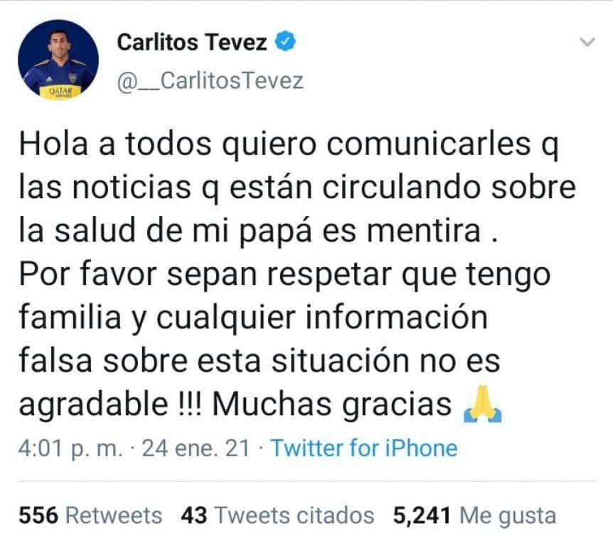 El día que Carlos Tévez tuvo que salir a desmentir la muerte de su padre