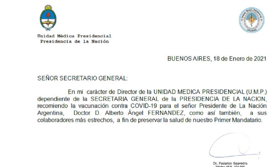 Vacunación Alberto Fernández