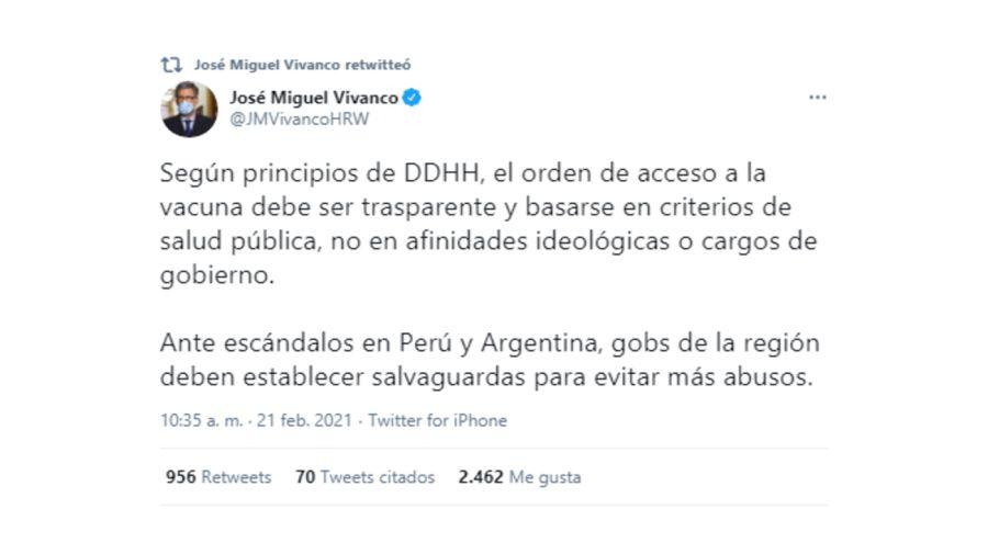 Vivanco Human Rights Watch Vacunación