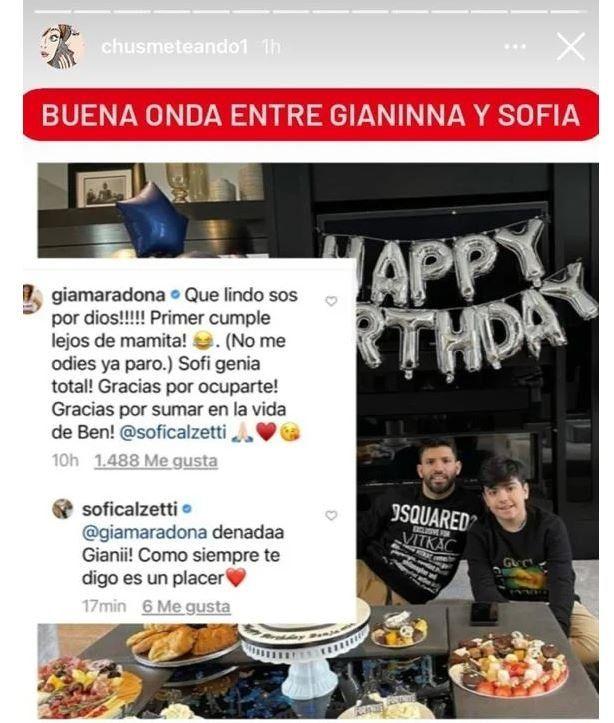 Gianinna Maradona le tiró flores a Sofía Calzetti, la novia del Kun Agüero