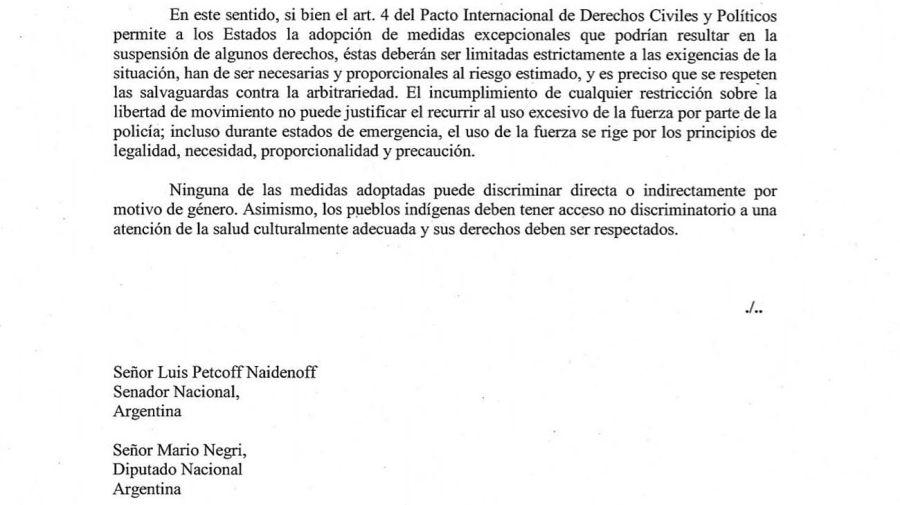 Carta de Michele Bachelet 20210225