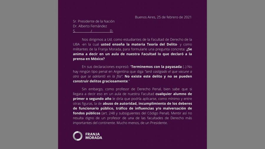 Franja Morada y el presidente 20210226