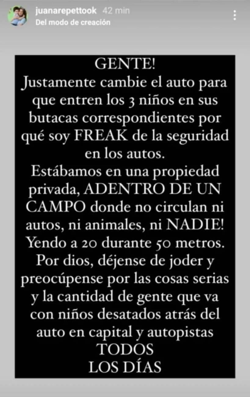 El descargo de Juana Repetto por un video en el que aparece su hijo al volante