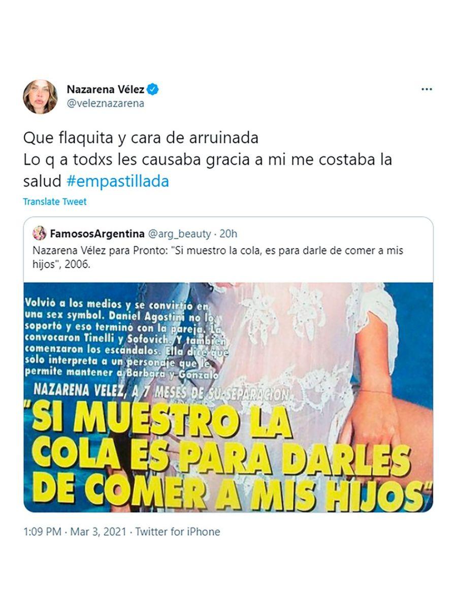 Nazarena Vélez recordó su adicción a las anfetaminas por una tapa de revista