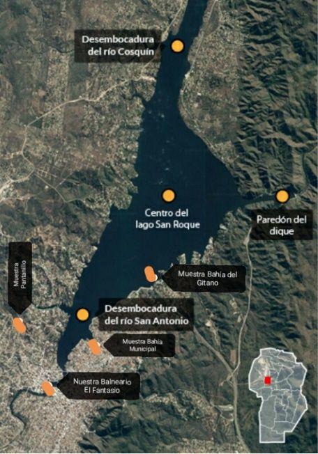 Lago San Roque puntos de monitoreo
