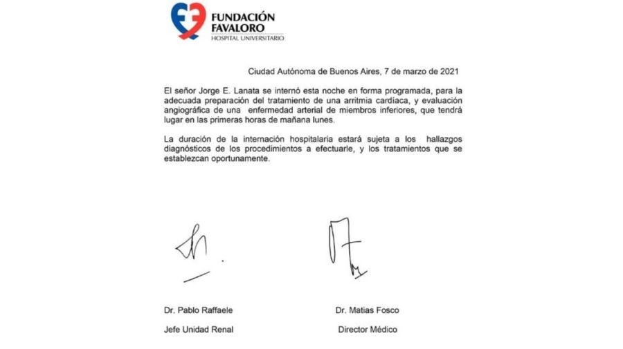 Parte medico Jorge Lanata