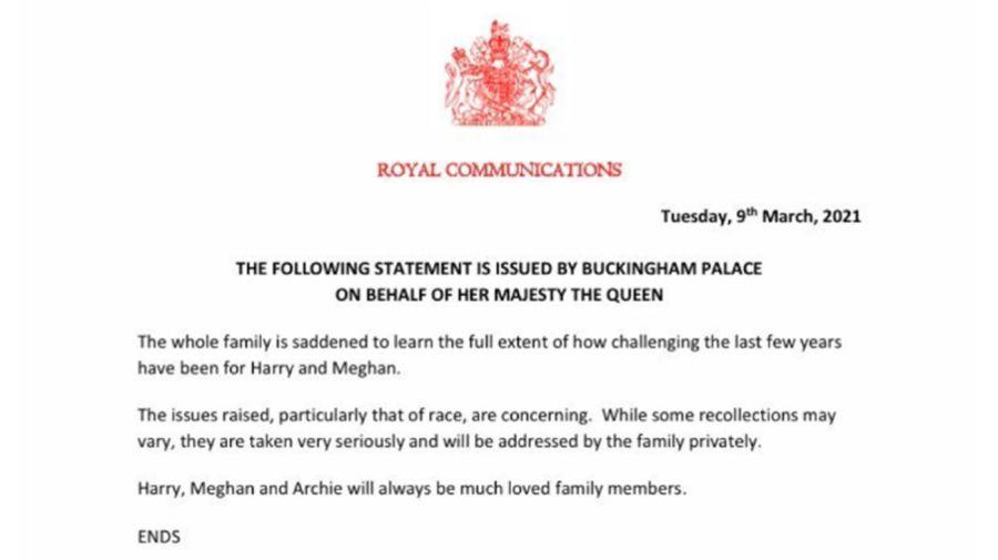 Comunicado oficial de la Reina Elizabeth 20210309