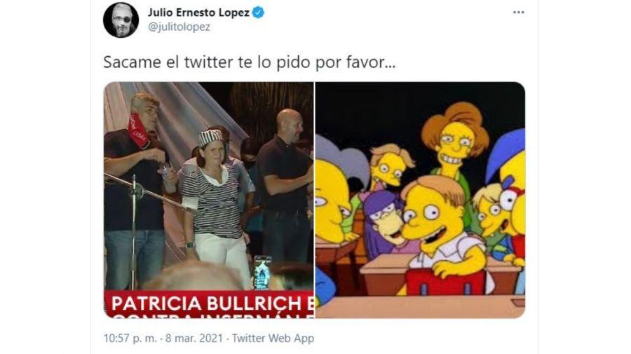 Meme Julio Ernesto Lopez contra Patricia Bullrich