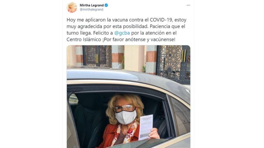 Mirtha Legrand vacunada contra el coronavirus