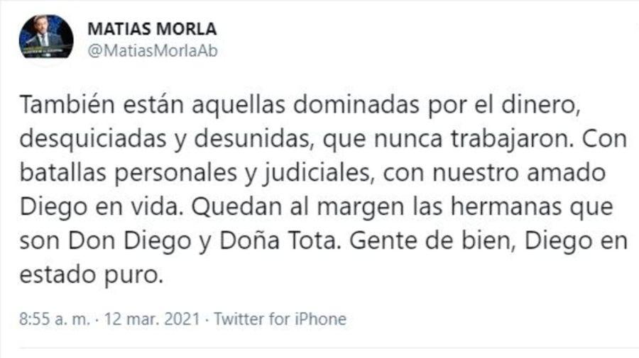Tuit Matias Morla contra Dalma, Gianinna Maradona y Claudia Villafañe