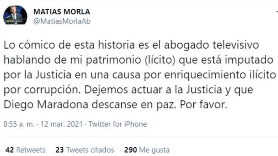 Tuit Matias Morla contra Mario Baudry