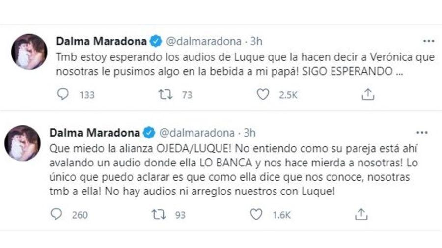 Tuits Dalma Maradona contra Veronica Ojeda