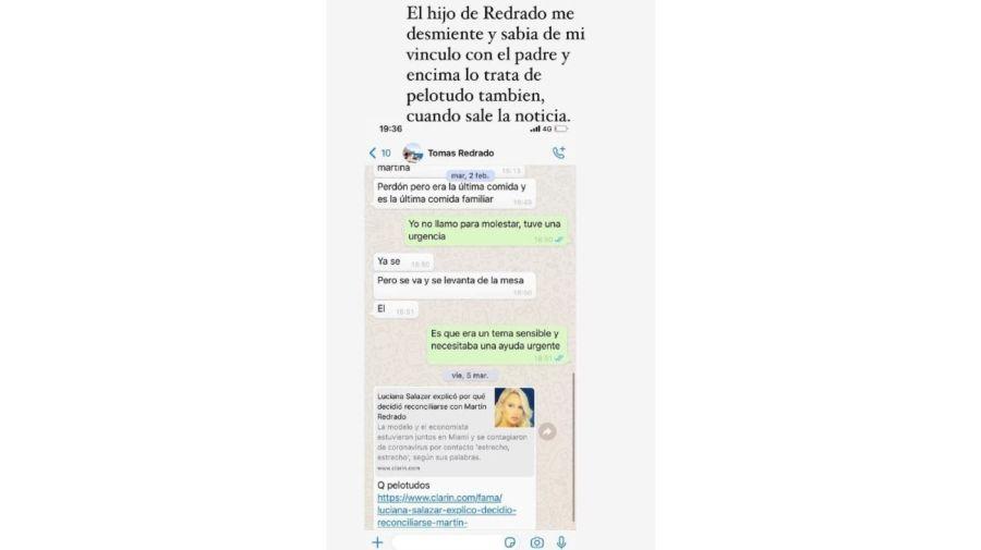 chat WhatsApp Luciana Salazar y Tomas Redrado