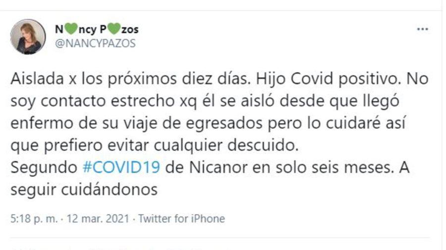 Tuit Nancy Pazos por coronavirus de Nicanor