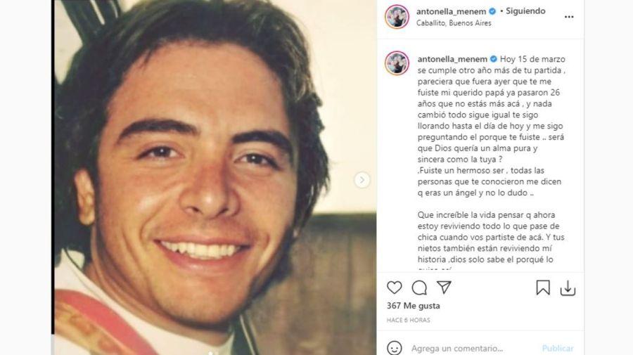 Mensaje Antonella Menem para Carlitos Menem Jr