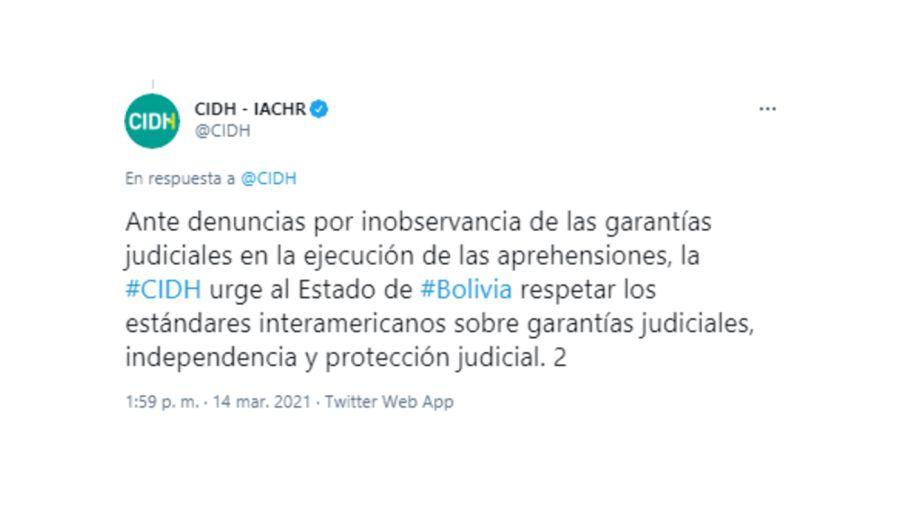 Prisión Preventiva Áñez Bolivia