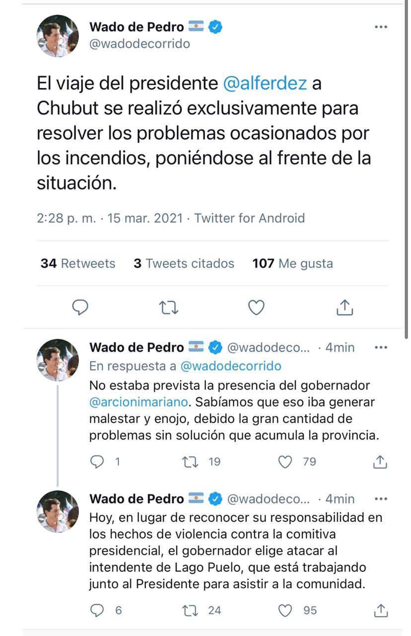 Tuits de Wado de Pedro contra Arcioni