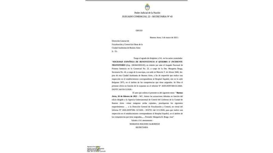 oficio judicial clausura hospital español pami