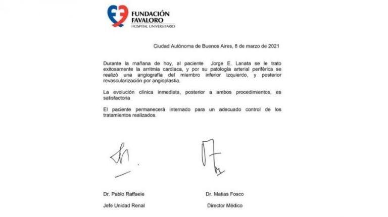 El último historial clínico de Jorge Lanata